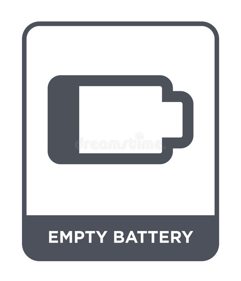 leeg batterijpictogram in in ontwerpstijl Leeg die batterijpictogram op witte achtergrond wordt geïsoleerd leeg eenvoudig batteri royalty-vrije illustratie