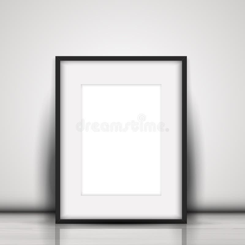 Leeg beeld die tegen een witte muur leunen stock illustratie