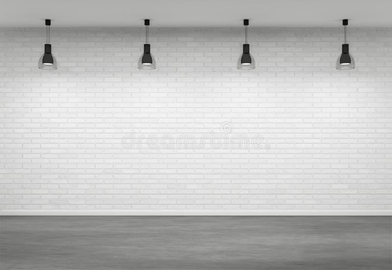 Leeg binnenland met vier lampen royalty-vrije illustratie