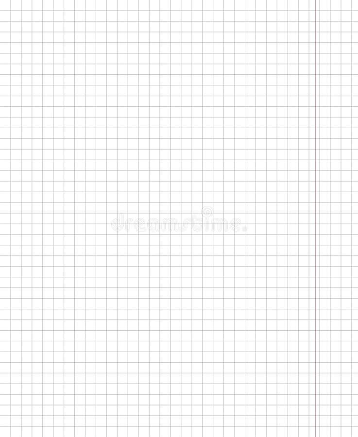 Leeg blad van een schoolnotitieboekje in de cel stock illustratie