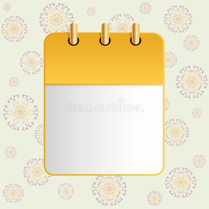 Leeg blad van kalender op de achtergrond van het etnische ornament stock illustratie