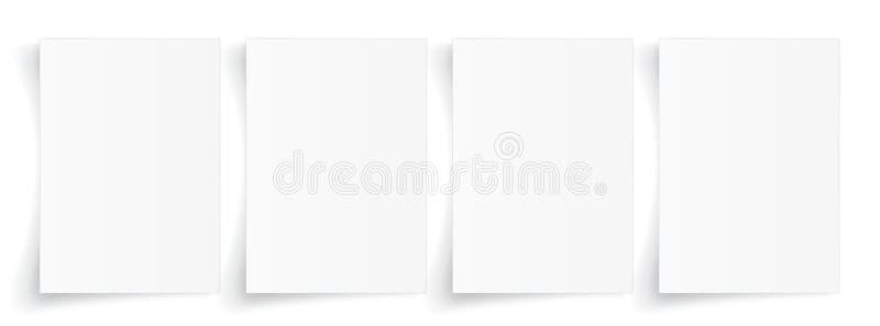 Leeg A4-blad van Witboek met schaduw, malplaatje voor uw ontwerp reeks Vector illustratie stock illustratie