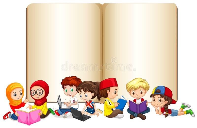 Leeg boek met en kinderen die werken lezen vector illustratie