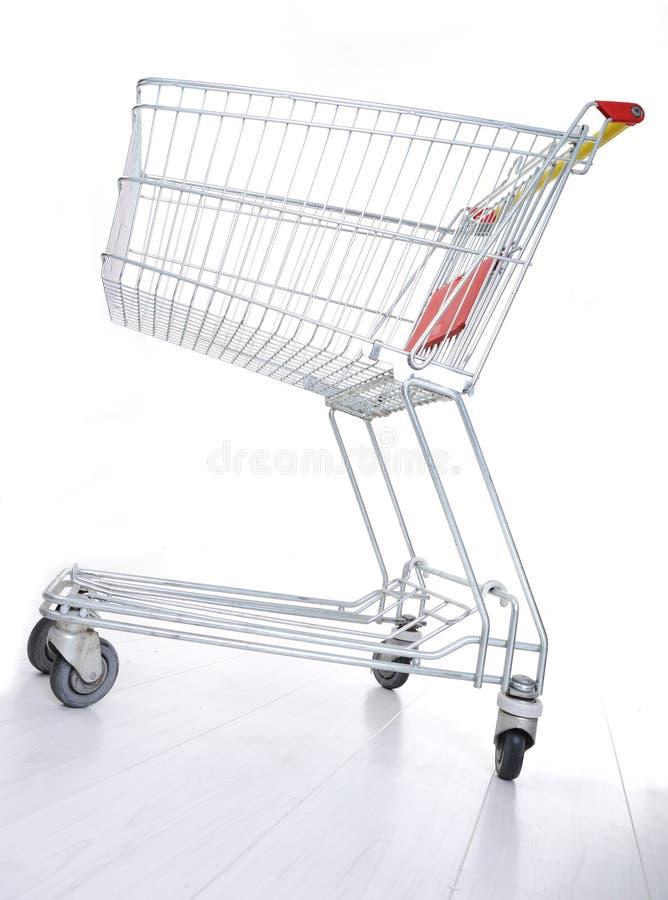 Leeg boodschappenwagentje stock afbeelding
