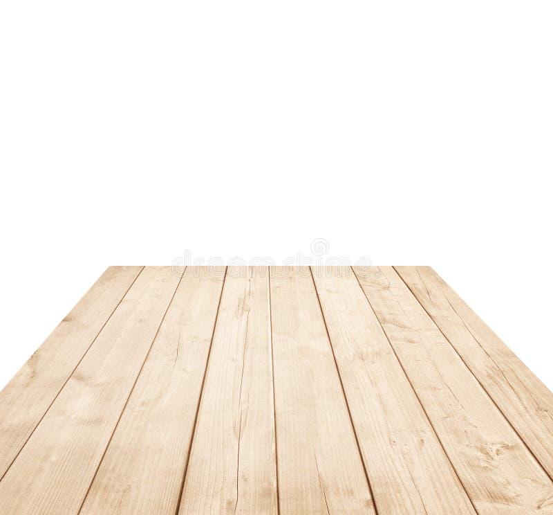 Leeg bruin houten tafelblad, verticale planken op witte achtergrond stock fotografie