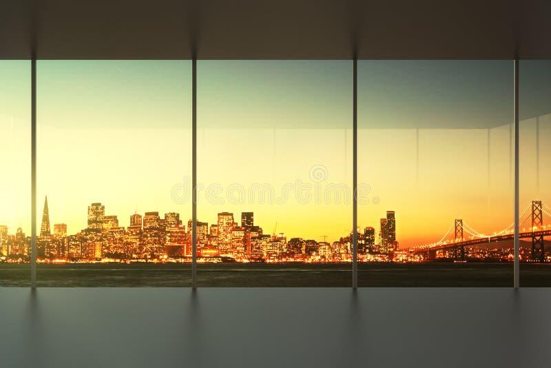 Leeg bureau bij zonsondergang met mening aan de horizon royalty-vrije stock afbeelding