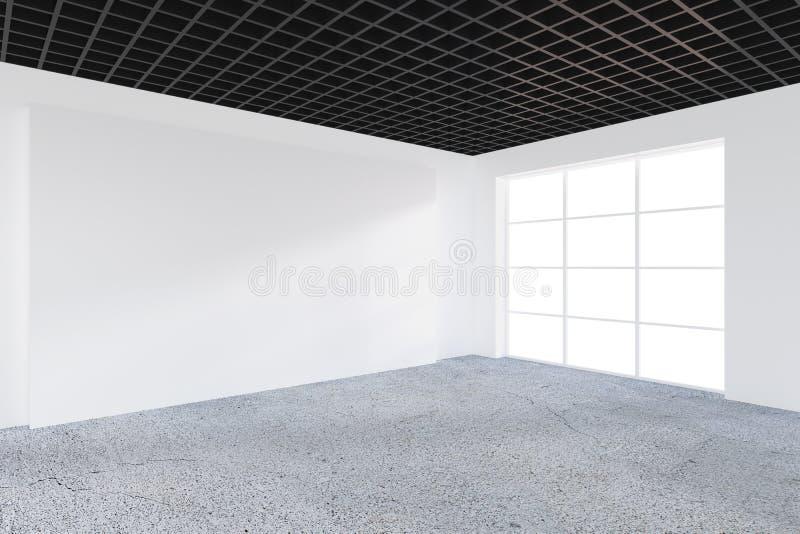 Leeg bureau, witte muur voor panoramisch venster Concept nieuw bureau Leeg wit aanplakbord op het bureauwit royalty-vrije illustratie