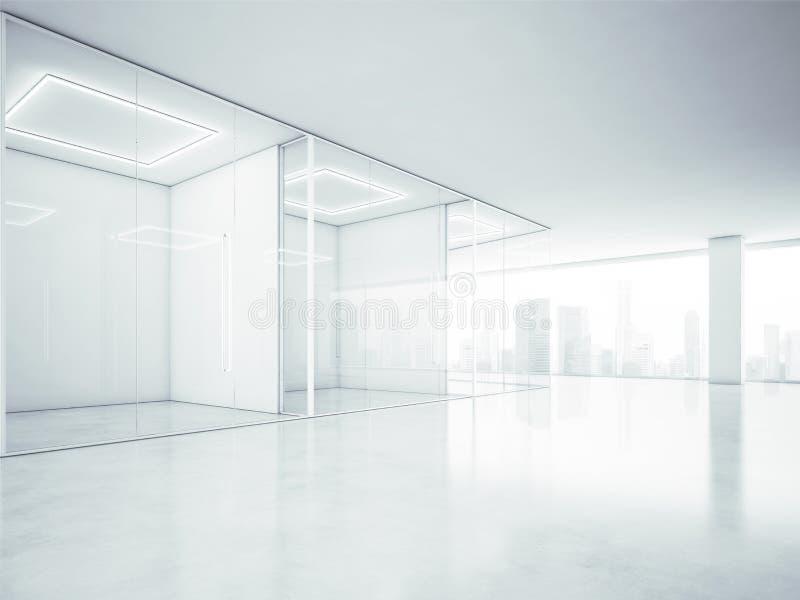 Leeg bureaubinnenland met grote vensters het 3d teruggeven stock afbeeldingen