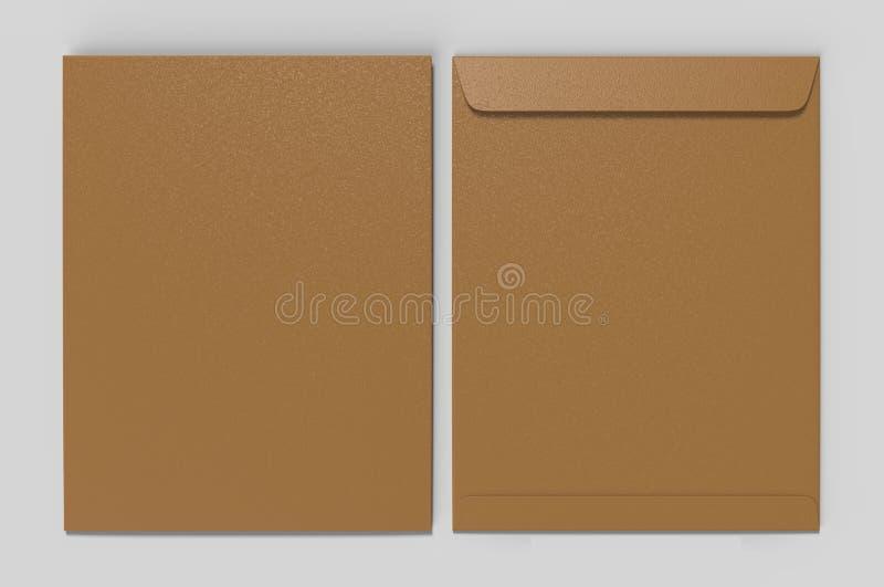 Leeg C4 envelopmodel, leeg malplaatje 3d geef illustratie terug stock fotografie