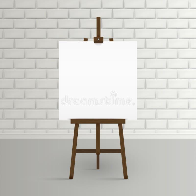 Leeg canvas op een kunstenaars` schildersezel Lege kunstraad en houten schildersezel stock illustratie