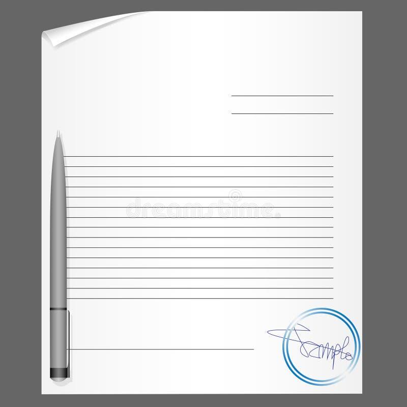 Leeg contract met pen vector illustratie