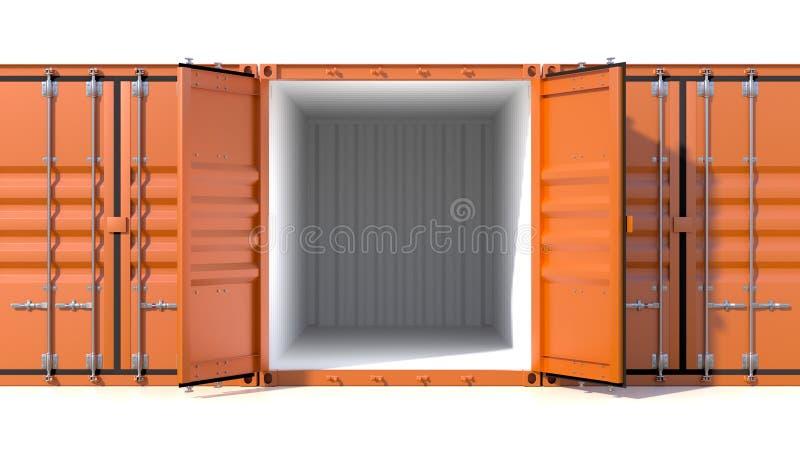 Leeg de container zijaanzicht van de schiplading 20 voet lengte royalty-vrije illustratie