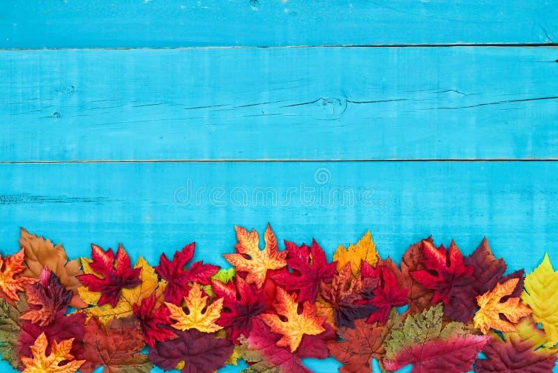 Leeg de herfst houten teken met kleurrijke bladerengrens stock foto