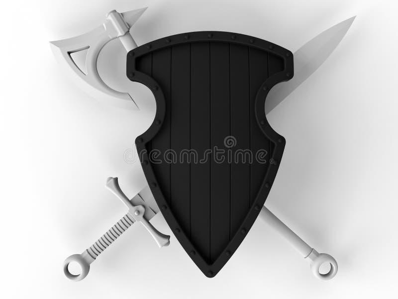 Leeg die bijl en zwaard achter een schild wordt gekruist royalty-vrije illustratie