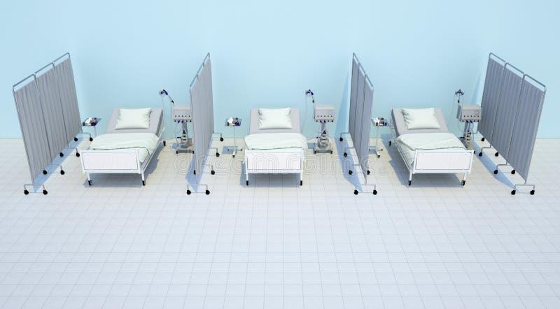 Leeg die drie het ziekenhuisbed met verdelingen wordt gesloten vector illustratie