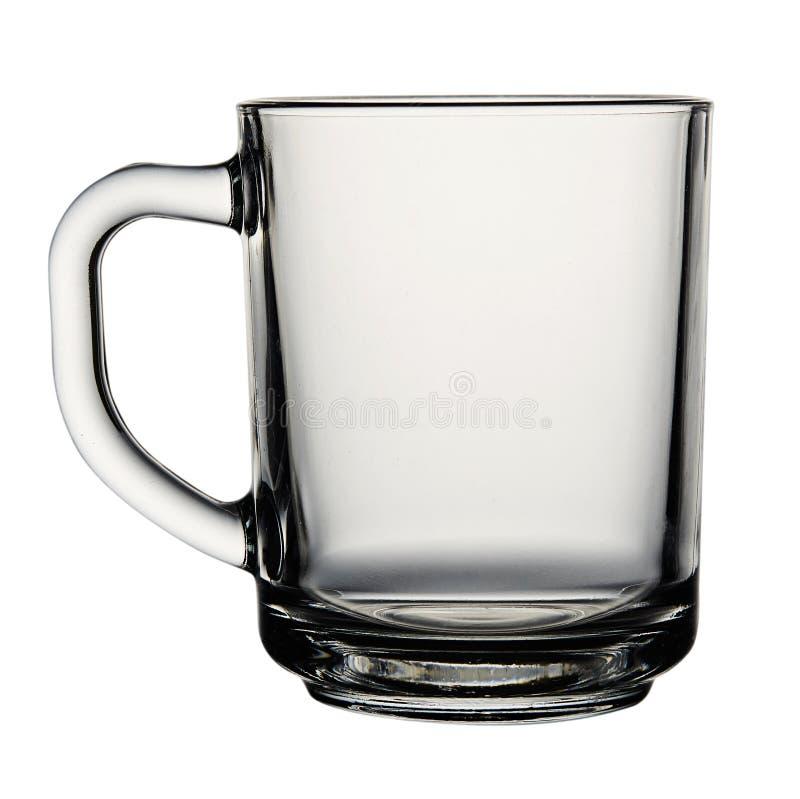 Leeg die glas voor thee of koffie op witte achtergrond wordt geïsoleerd stock foto