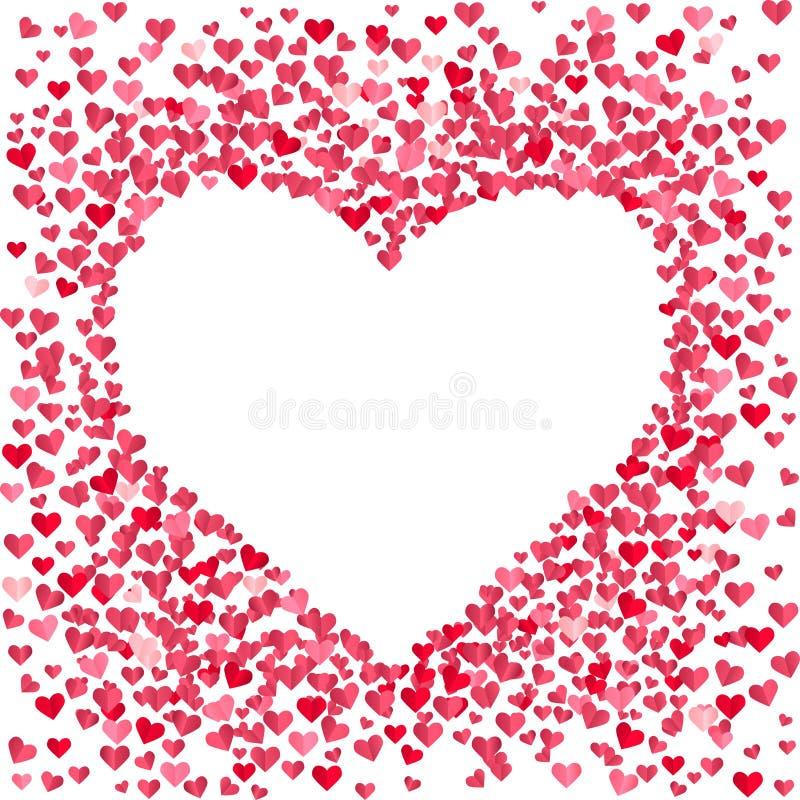 Leeg die hart van kleine confettienharten wordt gemaakt stock illustratie