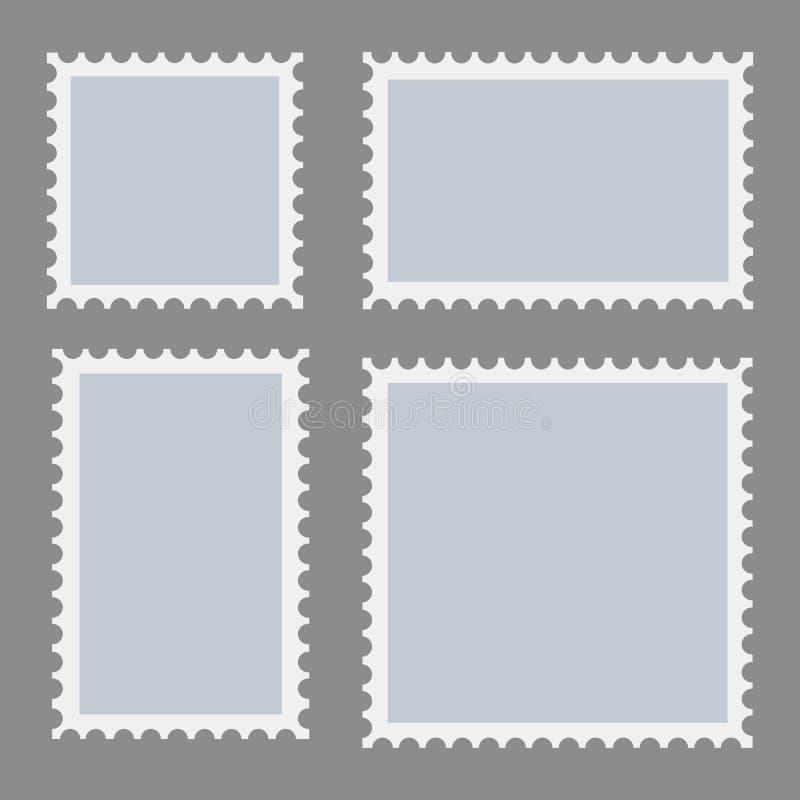 Leeg die postzegelsmalplaatje op donkere achtergrond wordt geplaatst Rechthoek en vierkante postzegels voor enveloppen, prentbrie stock illustratie