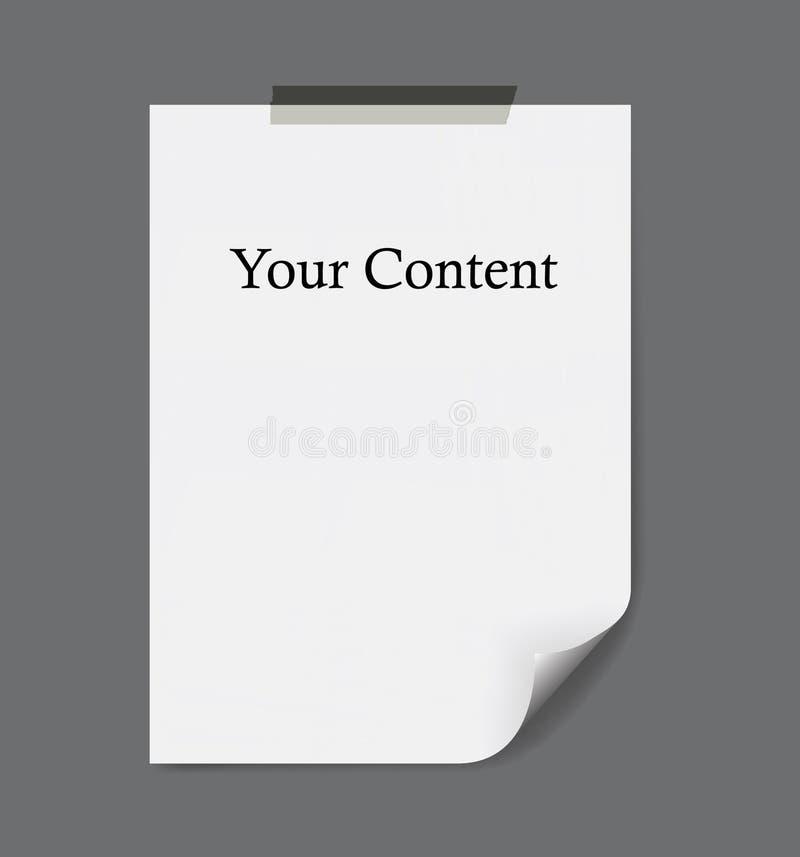 Leeg document blad met gebogen die hoek, aan de grijze muur wordt vastgebonden stock illustratie