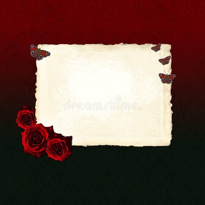 Leeg document blad met rode rozen en vlinders stock illustratie