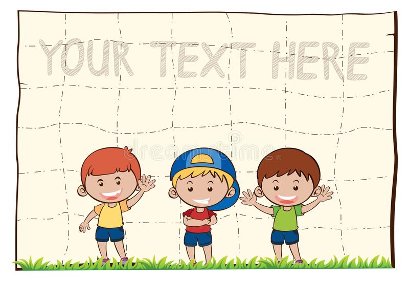 Leeg document met drie gelukkige jongens vector illustratie