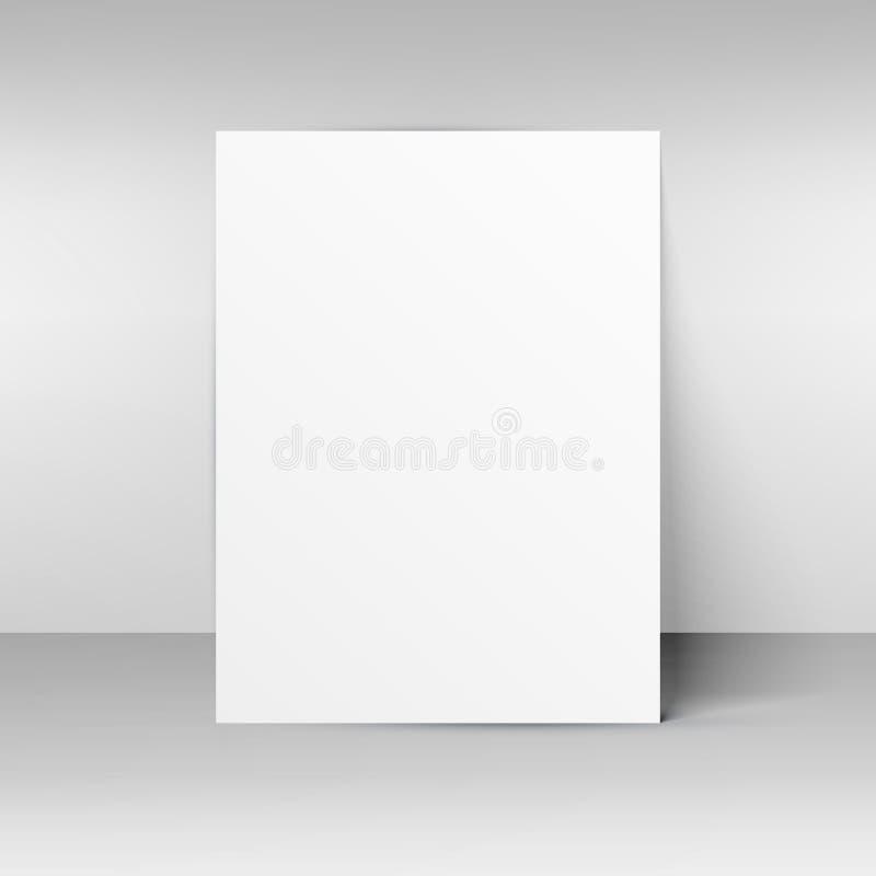Leeg document model dat op muur wordt geplaatst stock illustratie