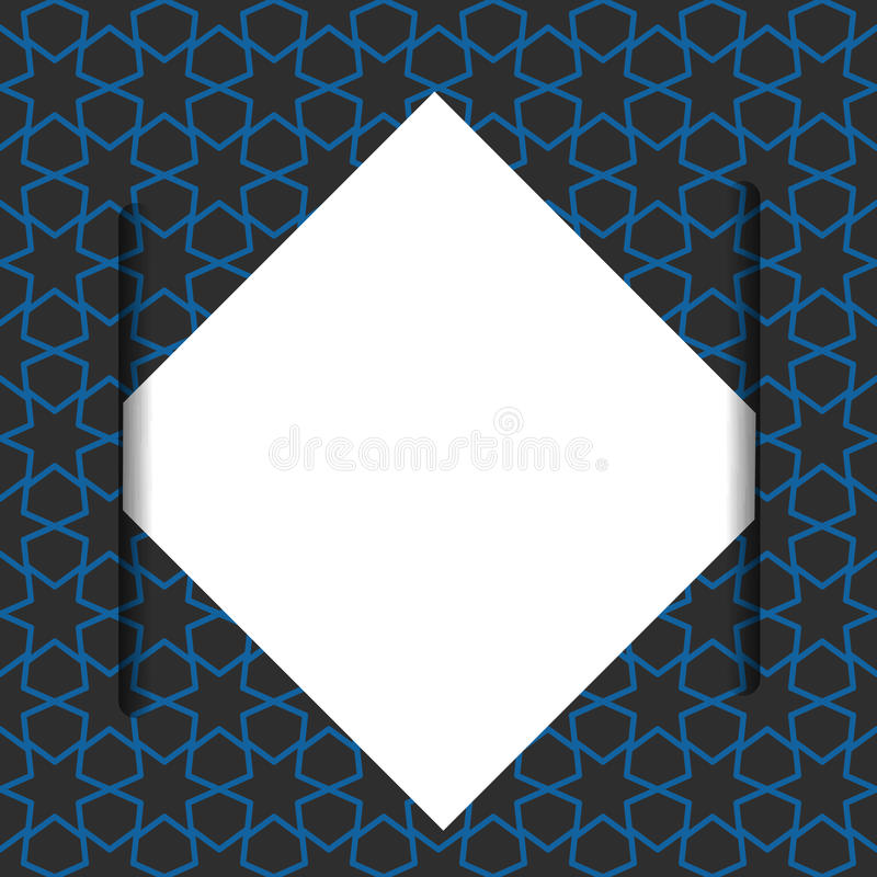 Leeg document op blauw geometrisch patroon stock illustratie