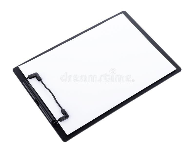 Leeg document op zwart klembord met ruimte op witte achtergrond royalty-vrije stock foto's
