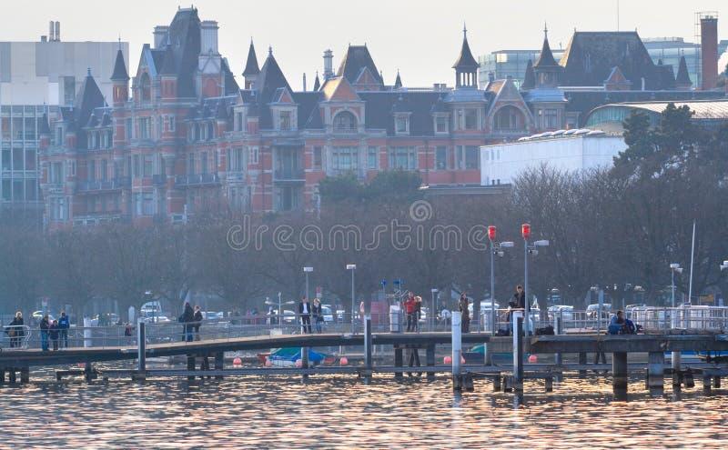 Leeg dok in de recente winter, Zürich stock afbeelding