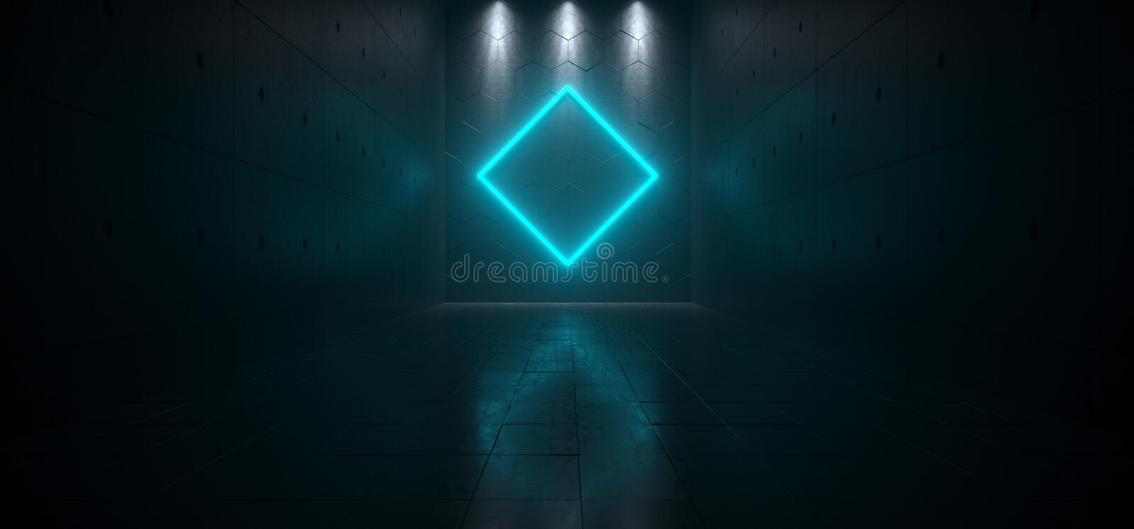 Leeg Donker Futuristisch Sc.i-FI Groot Hall Room With Lights And Rombu vector illustratie