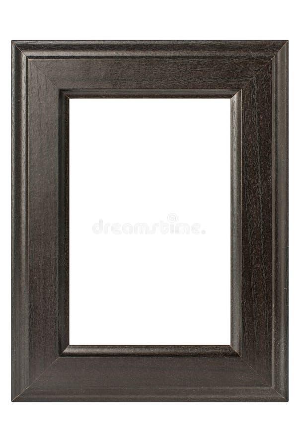 Leeg donker houten die fotokader op witte achtergrond wordt geïsoleerd stock foto's