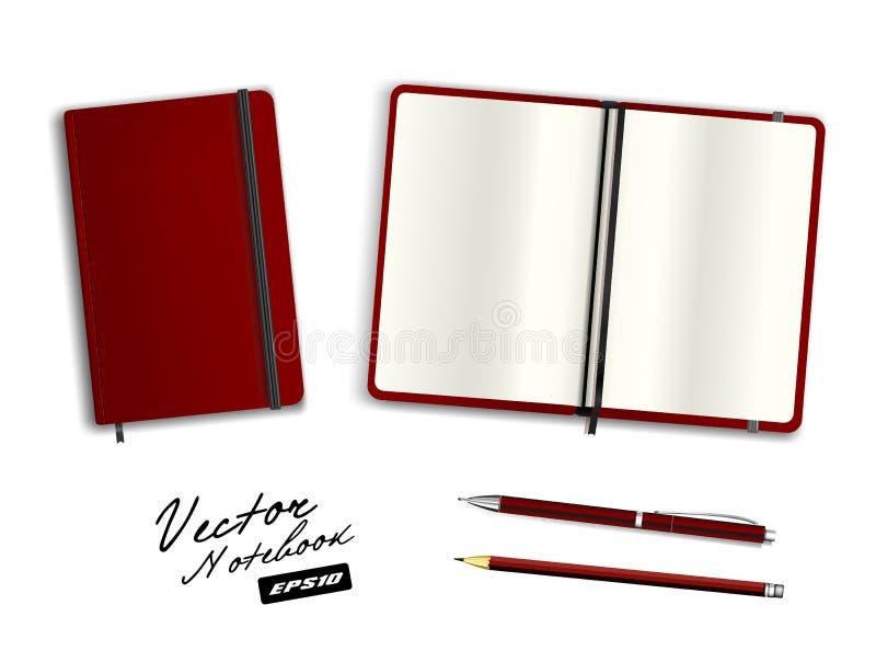 Leeg donkerrood open en gesloten voorbeeldenboekmalplaatje met elastiekje en referentie vector illustratie