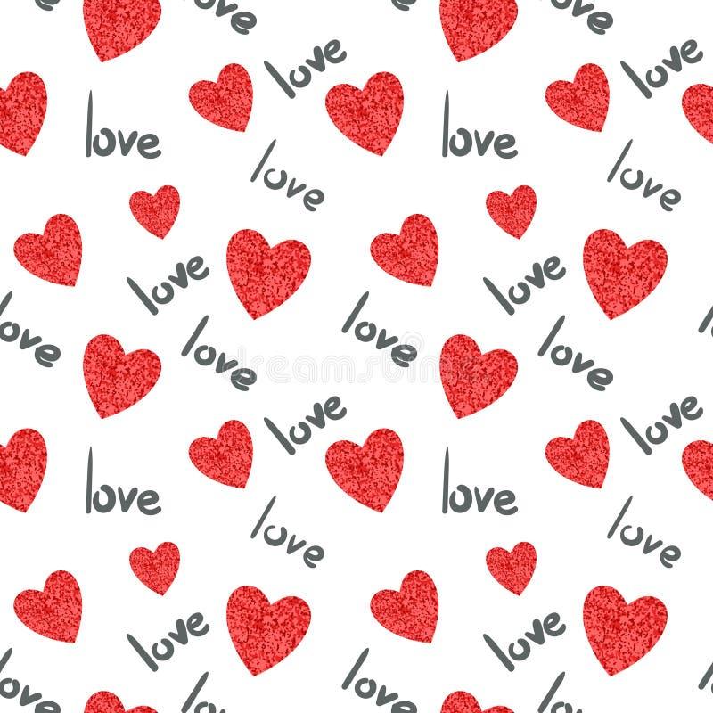 Leeg etiket Romantische naadloze achtergrond stock illustratie