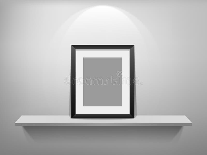 Leeg fotoframe op lege witte plank stock illustratie
