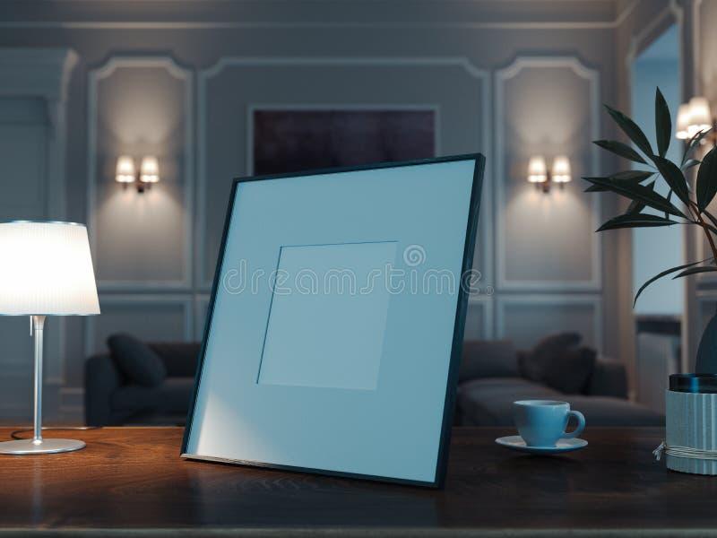 Leeg fotokader op houten lijst in modieuze woonkamer het 3d teruggeven stock afbeelding