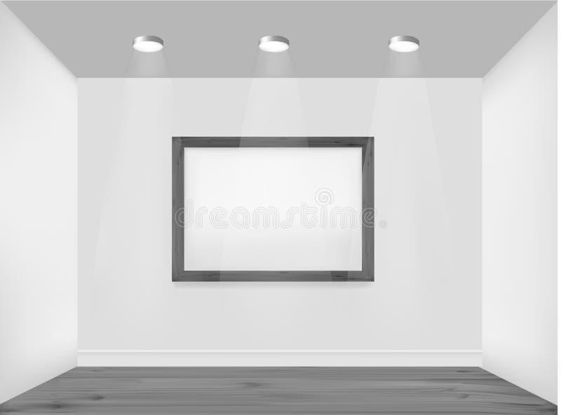 Leeg frame op muur met vleklichten. vector illustratie