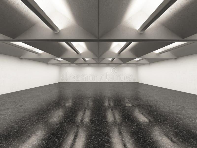 Leeg galerijbinnenland met donkere vloer stock illustratie