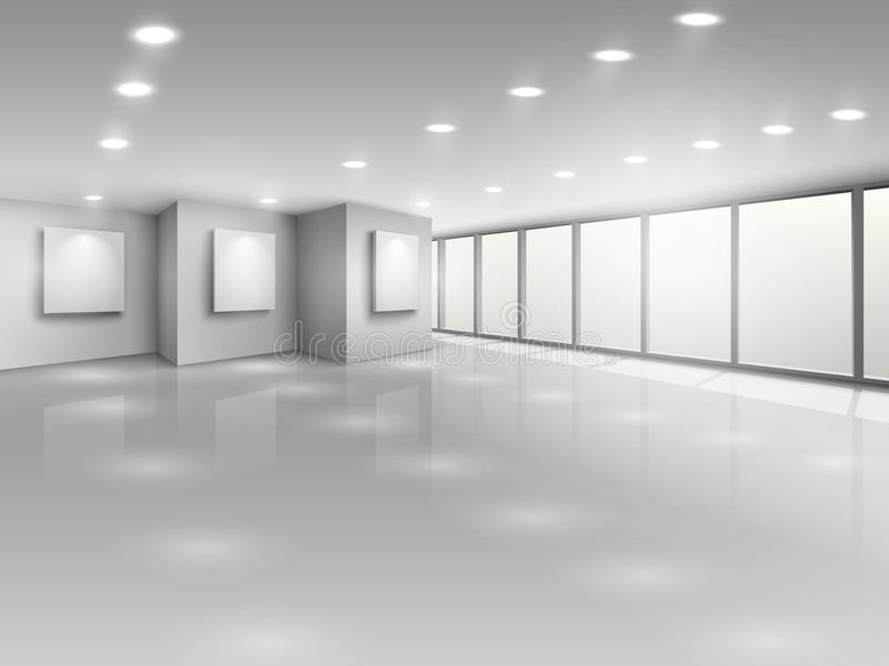Leeg galerijbinnenland met lichte vensters vector illustratie