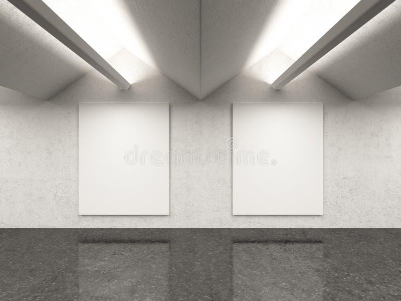 Leeg galerijbinnenland met twee kaders vector illustratie