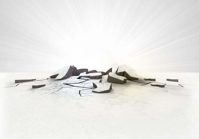 Leeg gebarsten grondgat met gloed op wit royalty-vrije stock afbeeldingen