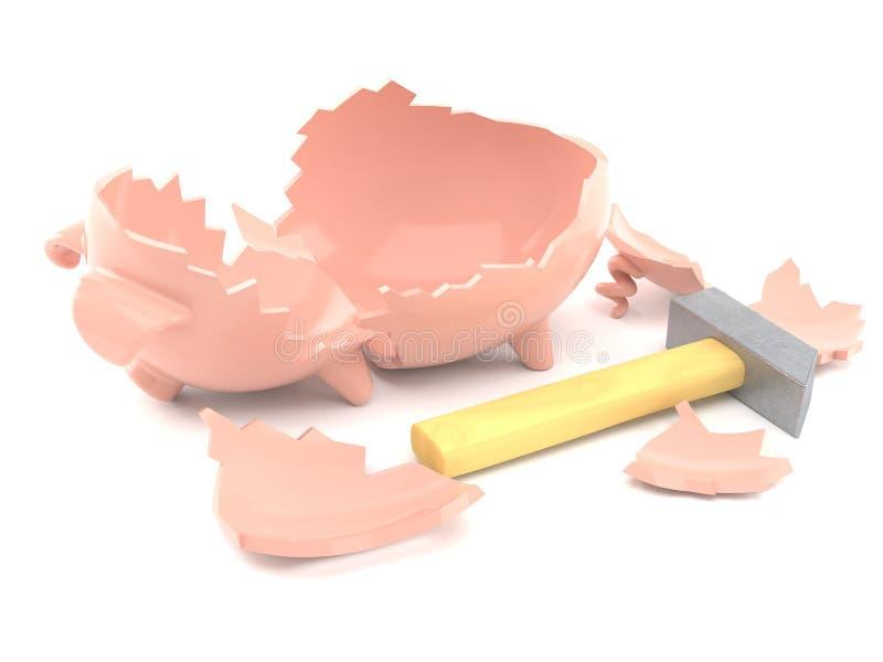 Leeg gebroken spaarvarken vector illustratie