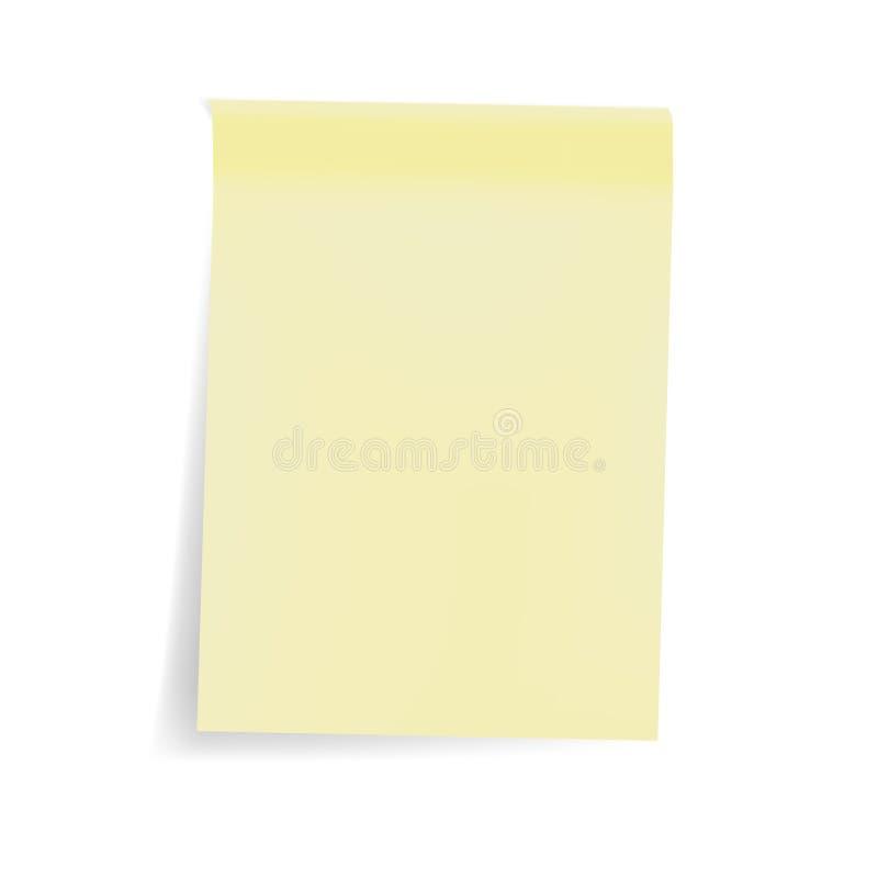 Leeg geel kleverig notablad, leeg zelfstokstootkussen - vectormo royalty-vrije illustratie
