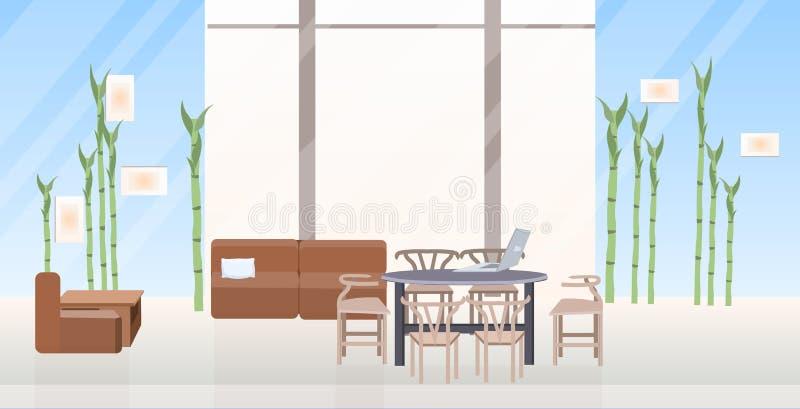 Leeg geen mensen creatief mede-werkt gebied van de centrum eigentijds zitkamer met binnenlandse vlakte van het meubilair de moder vector illustratie
