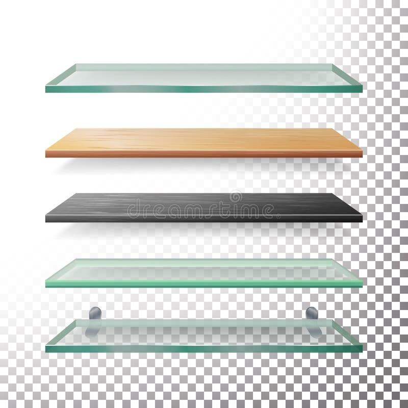 Leeg Glas en de Houten Vector van het Plankenmalplaatje Realistisch Metaal, Glas, Houten, Plastic Geplaatste Boekhandelplanken vector illustratie