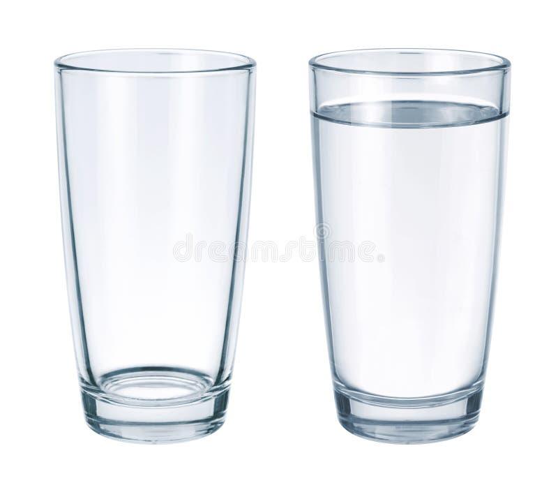 Leeg glas en glas met water royalty-vrije stock afbeeldingen