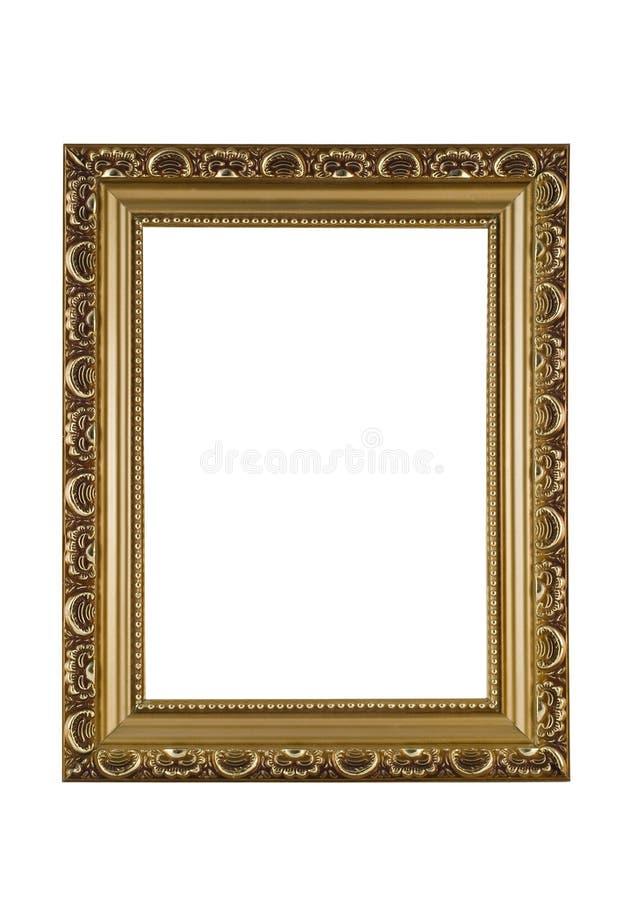 Leeg gouden frame voor beeld of portret royalty-vrije stock fotografie