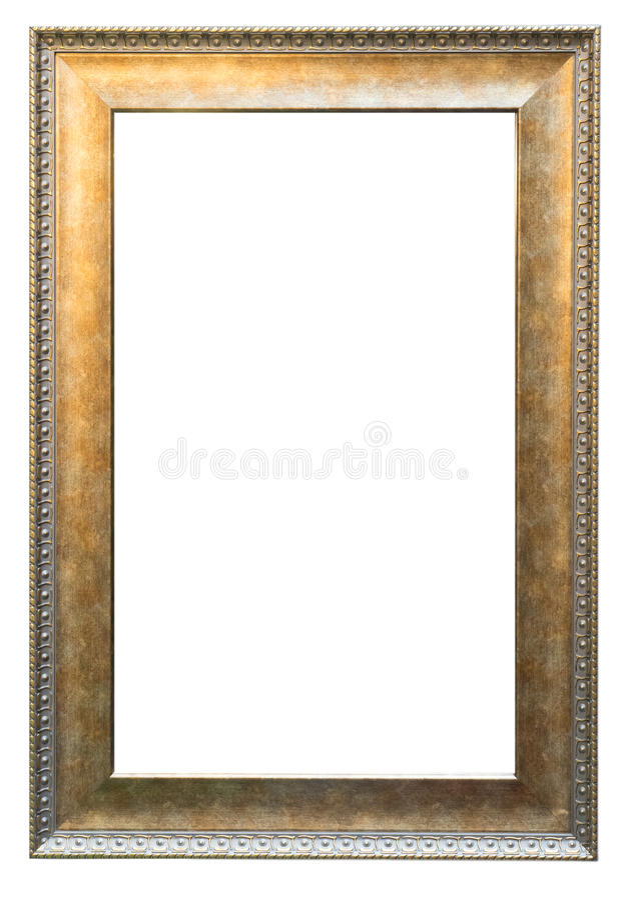Leeg Gouden uitstekend die kader op wit wordt geïsoleerd royalty-vrije stock foto's
