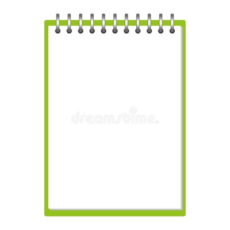 Leeg groen open voorbeeldenboekmalplaatje met elastiekje en referentie Realistisch kantoorbehoeften leeg groen pen en potlood Not stock illustratie