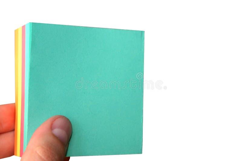 Leeg het document van de holding geïsoleerd1 blad - royalty-vrije stock fotografie