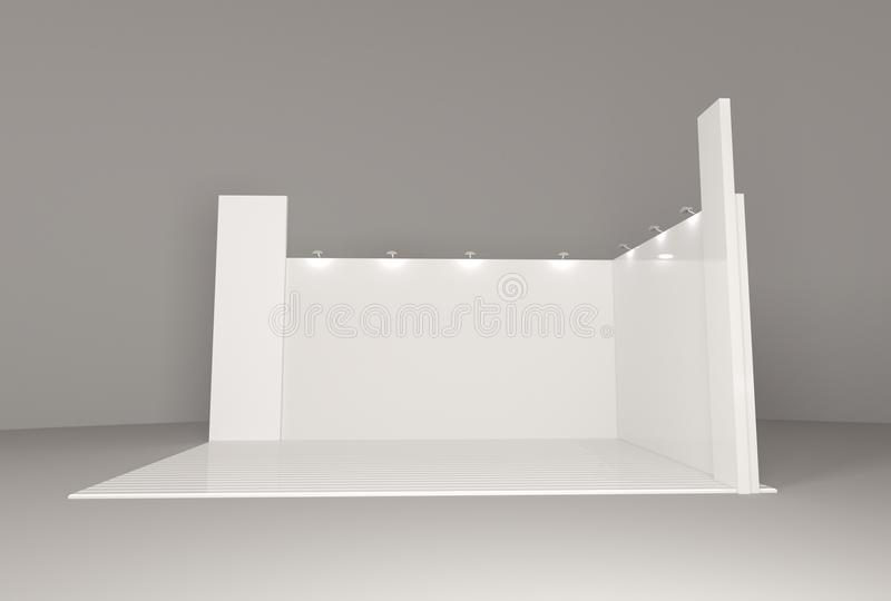Leeg leeg het modelmalplaatje van de tribunecabine voor uw ontwerp stock foto